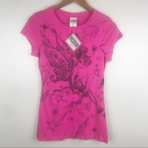 DISNEY Tinkerbell Graphic Pink Short Sleeve Tee